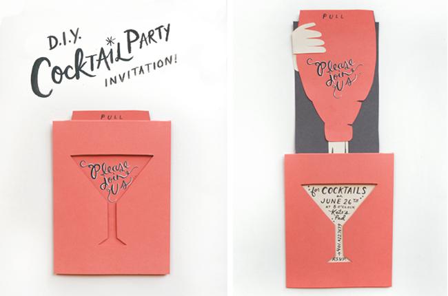 DIY Cocktail Party Invitations live laugh celebrate